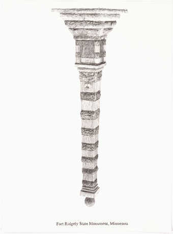 A pencil drawn image of an inverted monument.  Text under the image &amp;quot;Fort Ridgely State...