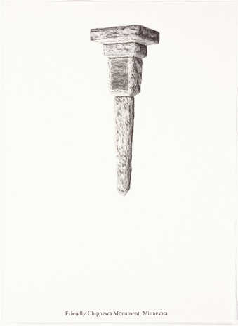 "A pencil drawn image of an inverted monument.  Text under the image ""Friendly Chippewa..."