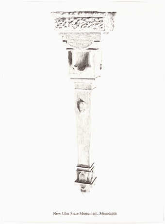 "A pencil drawn image of an inverted monument.  Text under the image ""New Ulm State Monument,..."