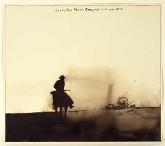 A silhouette image of a cowboy on riding horseback near the remains of a collapsed wagon.  Across...