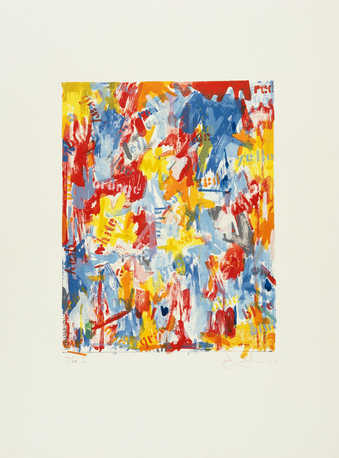Image composed of areas of blue, orange, red, yellow, and white inks over printed with the names...