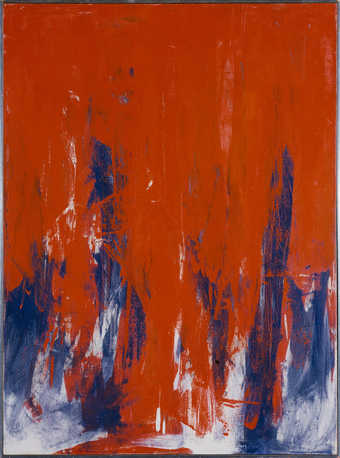 blue overpainted by red.  The red ends in a jagged line in the lower quadrant revealing the blue...