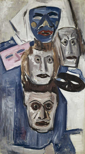 stack of masks all with different faces and expressions.