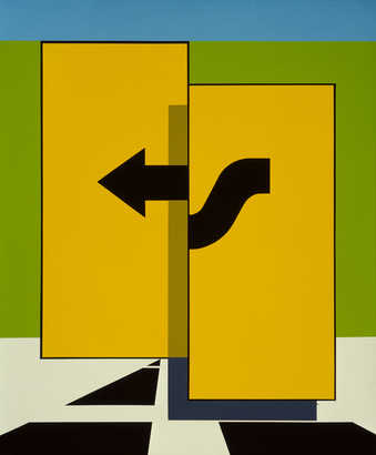 two large yellow vertical oblong shapes over painted with a black arrow reminiscent of a road sign.