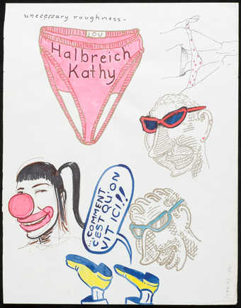 "Image of a pink pair of womens underwear with ""Halbreich Kathy"" written on the front. ..."