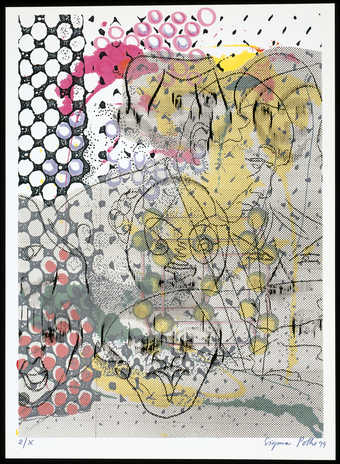 A print constructed of layers of images and patterns contained within a portfolio with 4 text...