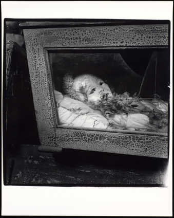 An image of a mummified body in a glass-walled casket.