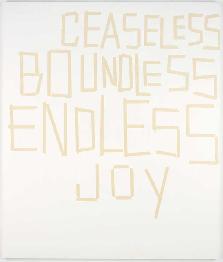 A text based work in which the painted letters, appear to be created from adhesive tape. Text...