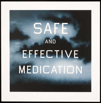 "The words ""SAFE AND EFFECTIVE MEDICATION"" over a blue field"