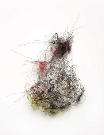 A sculpture constructed of tangled and intertwined wire.