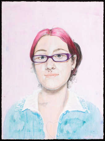 An image of a woman with pink hair, glasses and a pierced nasal septum