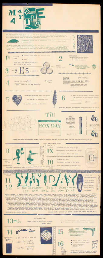 Green and blue print on white paper; printed both sides; a calendar of events for Yam Festival,...