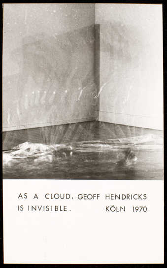 "Photograph with black print, postcard format.  Text reads ""As a cloud, Geoff Hendricks is..."
