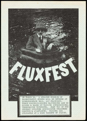 Black print on green watermark patterned paper; a poster to Fluxfest, a festival organized by...
