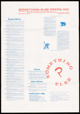 Red and blue printing on white paper; printed on both sides. A catalogue advertising publications...