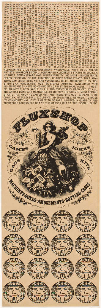 Black text on grey/green paper.  Advertisements for the Fluxshop, NY, with Fluxus manifesto and...