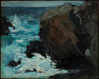 view of a seascape. rock formation on right and water on left.  heavy impasto