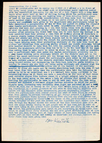 Blue type on white paper; folded.  A destruction happening involving the ruin of objects inside a...