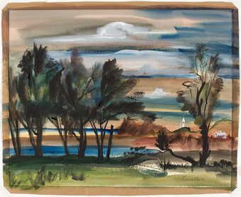 a farm scene near dusk