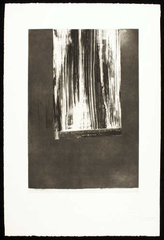 An image of a ruler that has been dragged across a dark field.  An intaglio from one copper plate