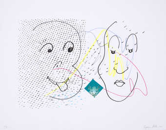 A line drawn image of two cartoon like faces