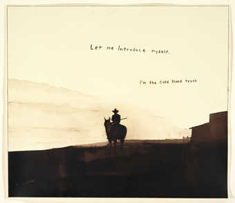 A silhouette image of a cowboy holding a rifle, riding horseback away  from a barn.  In brown ink...