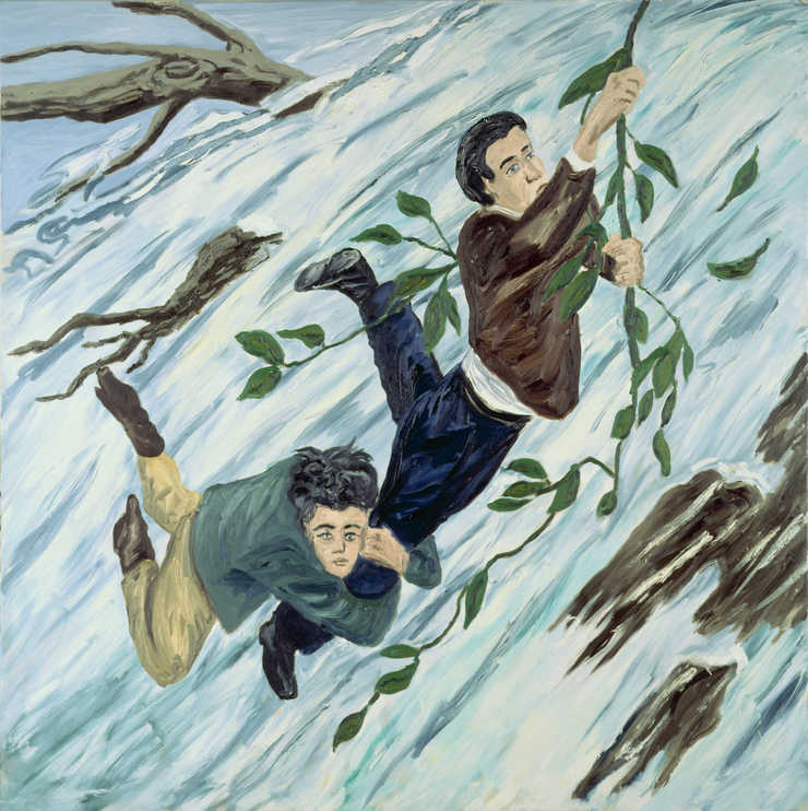male and female figures swinging on vine