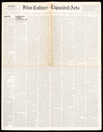 12 page newspaper, with various texts.  Designed by George Maciunas.