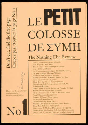 "A poster/print/newsletter, subtitled ""Le Petit Colosse de EMYH""; black print on tan..."