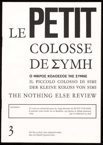 A newsletter/pamphlet, subtitled &amp;quot;Le Petit Colosse de EMYH&amp;quot;; black print on white...
