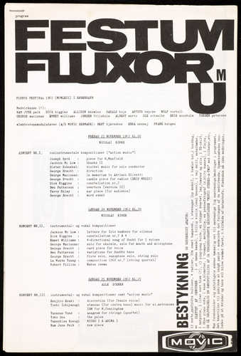 Printed offset black on white paper; stapled; a 2-page program for Festum Fluxorum, held at...