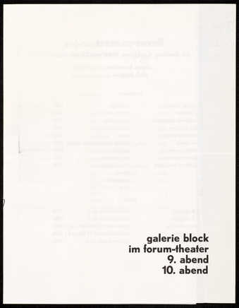 Black print on white paper; print on both sides; program for 2 concerts organized by René Block...
