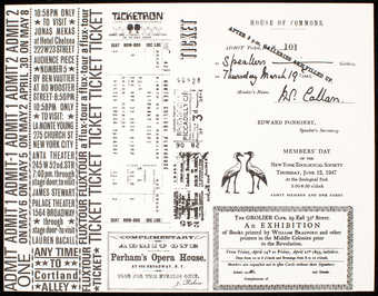 "Proofsheet of Fluxtour tickets by various artists including George Maciunas' ""Facsimile..."