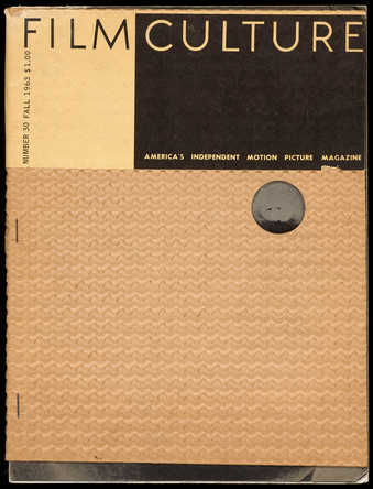 A bound magazine; the cover is composed of corrugated cardboard and Film Culture wrap label. ...