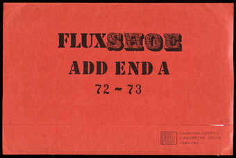 A red folder containing printed matter.  A supplement to the Fluxshoe catalogue (see 89.184), ...