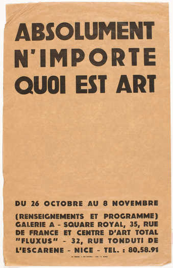 Black print on brown paper; poster for event in Nice, Oct. 26 - Nov. 8.