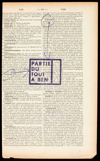 Page from a French dictionary wih rubber stamp and annotations in blue ink.