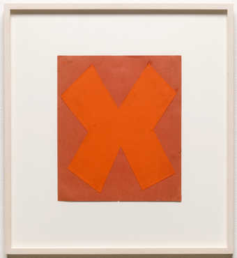 "A orange ""X"" shaped piece of paper adhered to a lighter orange paper support.  A study..."