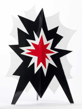 a three dimensional  explosion in with red, black, and white