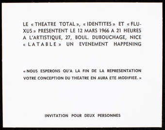 White card stock with black print.  Text is in French.  An invitation/ticket for an event, ...