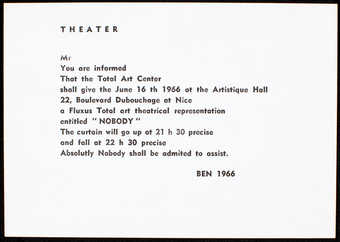 White linen paper with black print.  Text is in English.  An invitation to the performance of...