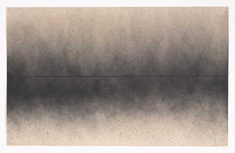 A graphite horizon line oversprayed with a gray spray pattern.