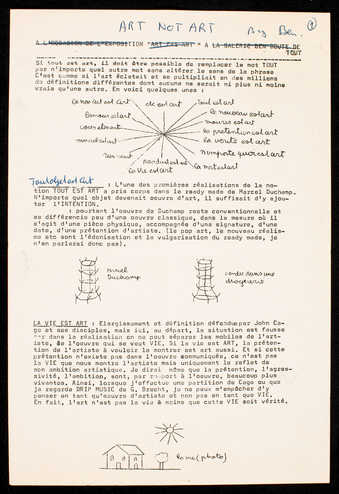 3 pages of black print on white paper.  Handwritten additions by Vautier.  Text is in French. ...