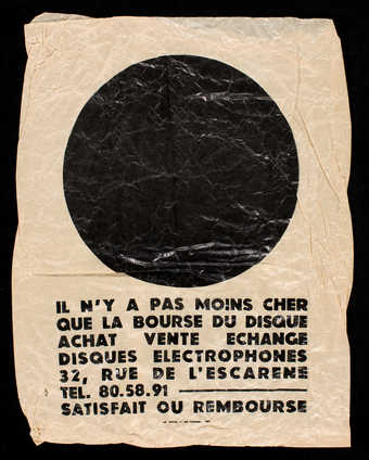 A paper bag with black letterpress. Text is in French. Used in Ben&#x27;s record store in Nice.