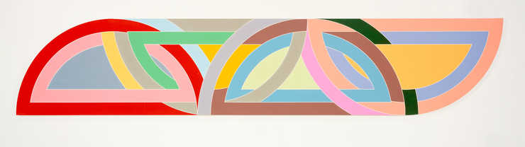 looks like four colorful protractors intertwined, 2 arc side up, 2 arc side down