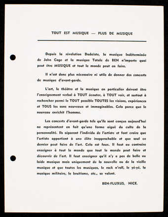 Black print on white card stock. Text of an essay is in French. Printed one side.  On left side 2...