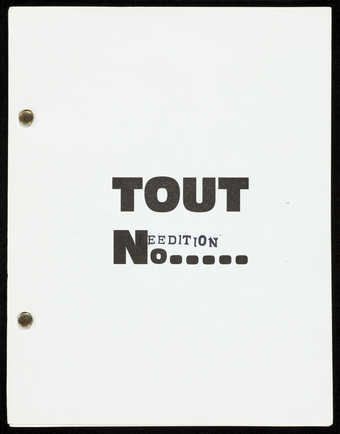 A paperback booklet with pages held together by fasteners.  The text is in French. Cover stamped...