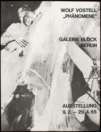 Black print on white paper; print for a de-coll/age happening at Galerie René Block, Berlin,...