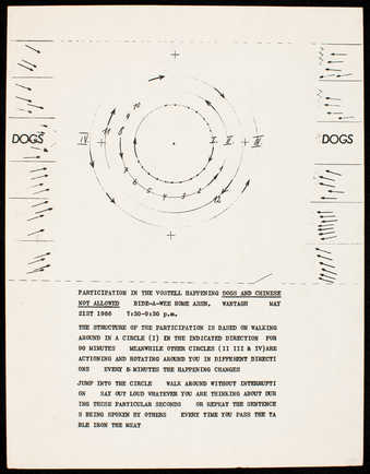 Black print on white paper. Instruction diagram and text for the happening Dogs and Chinese Not...