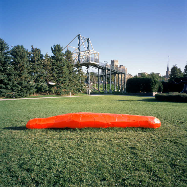 A large dayglow orange pickle-like form.